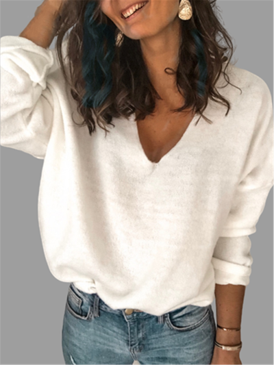 Cotton Long Sleeve V Neck Sweater