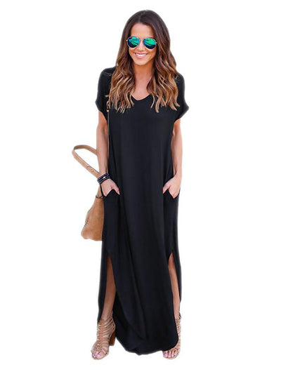 Women's Maxi Black Loose Dress - Short Sleeve Solid Colored Street chic Daily Weekend Slim Wine Black Blue Gray S M L XL / Cotton
