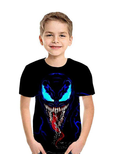 Kids Boys' Active Street chic Geometric Color Block 3D Short Sleeve Tee Black