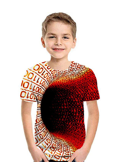 Kids Boys' Active Street chic Geometric 3D Patchwork Pleated Print Short Sleeve Tee Blue