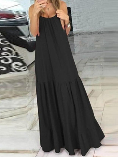 Women's A-Line Dress Maxi long Dress - Sleeveless Solid Color Summer Casual 2020 Black Red S M L XL XXL