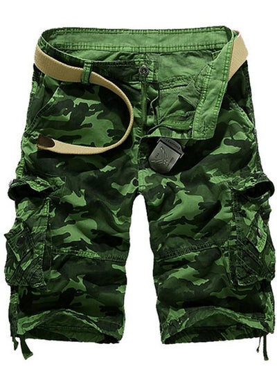 Men's Basic Slim Shorts Bermuda shorts Pants - Patterned Blue Army Green Fuchsia M / L / XL