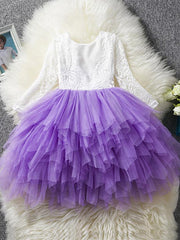 Kids Girls' Princess Party Daily Solid Colored Flower Lace Layered Long Sleeve Dress White / Cotton
