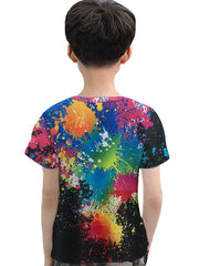 Kids Toddler Boys' Active Basic Print 3D Rainbow Print Short Sleeve Tee Rainbow