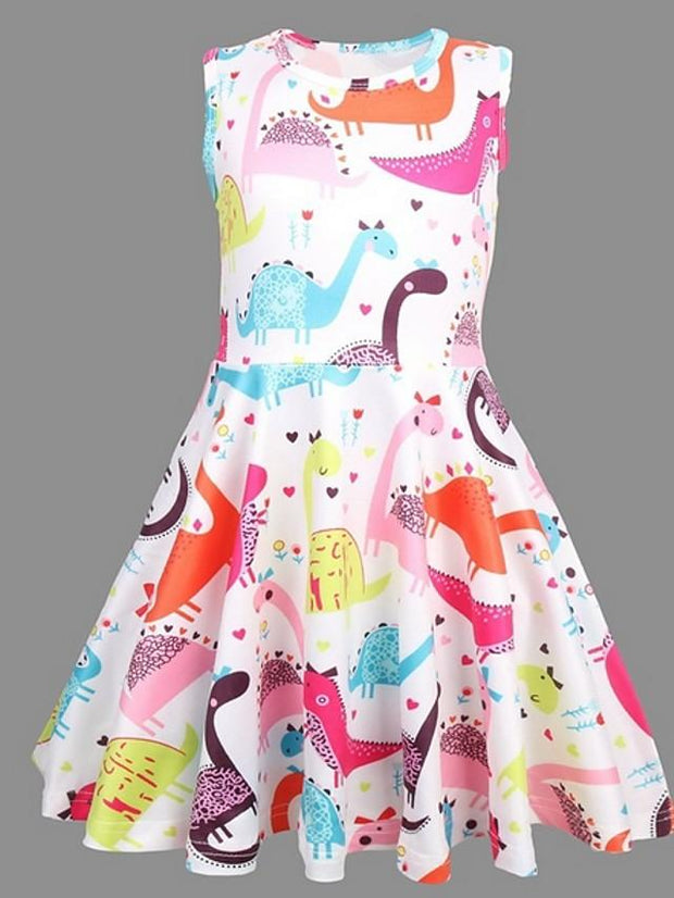 Kids Girls' Easter Dinosaur Animal Dress Rainbow