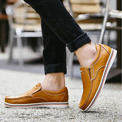 Men's Comfort Loafers Cowhide Summer / Fall Loafers & Slip-Ons Black / Brown / Dark Blue / Split Joint / EU40
