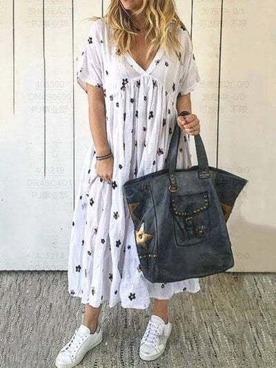Casual Short Sleeve Cotton V Neck Casualdress