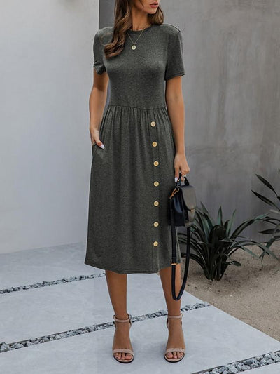 Women's A-Line Dress Midi Dress - Short Sleeve Solid Color Print Summer Casual Daily 2020 Army Green Dusty Blue Dark Gray S M L XL XXL