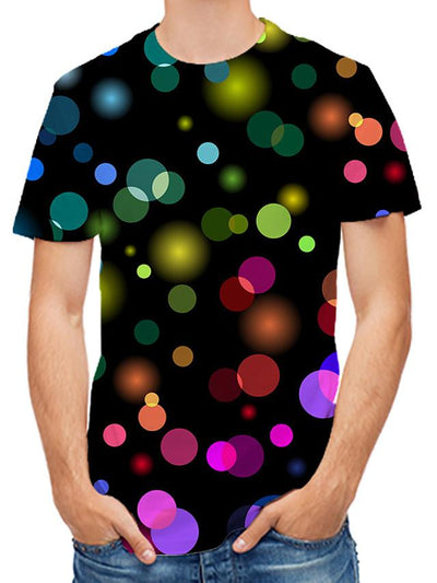 Men's 3D Graphic Print T-shirt Daily Round Neck Black / Short Sleeve