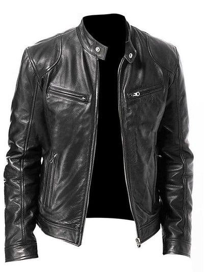 Men's Stand Collar Faux Leather Jacket Regular Solid Colored Daily Basic Spring Long Sleeve Black / Brown US32 / UK32 / EU40 / US34 / UK34 / EU42 / US36 / UK36 / EU44