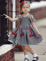 Kids Girls' Active Cute Houndstooth Jacquard Backless Bow Pleated Short Sleeve Knee-length Dress Black / Cotton / Lace up