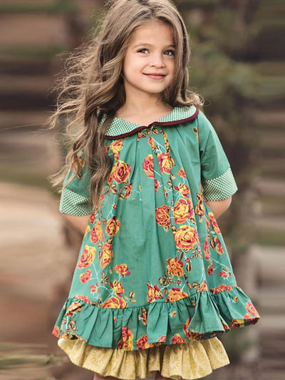 Kids Girls' Cute Floral Half Sleeve Knee-length Dress Green / Cotton