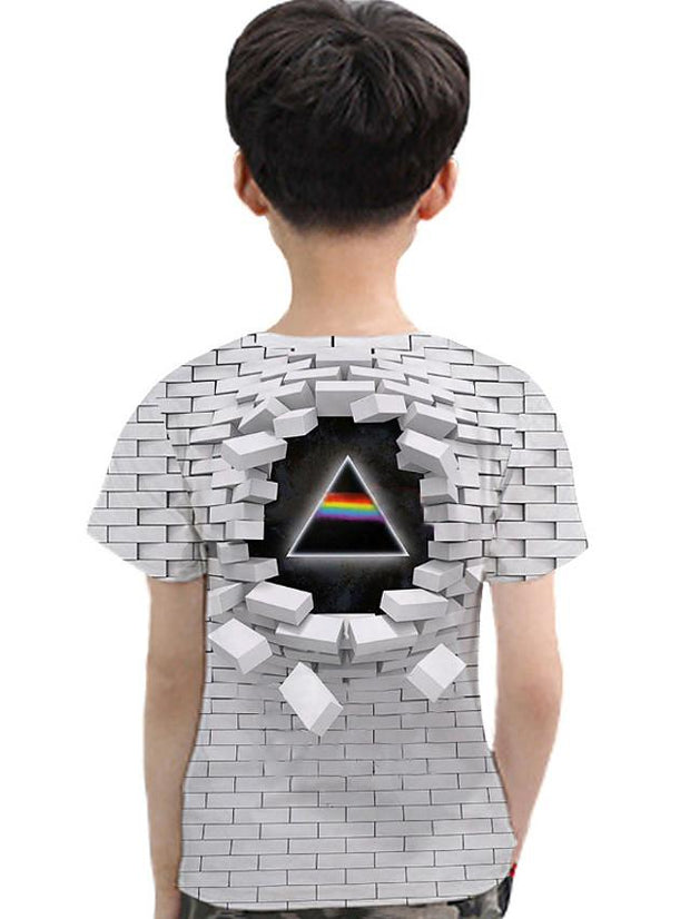 Kids Toddler Boys' Active Basic Geometric 3D Print Short Sleeve Tee Light gray