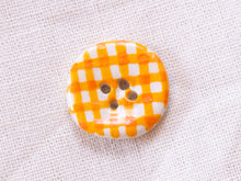Load image into Gallery viewer, Small Button: Orange Gingham