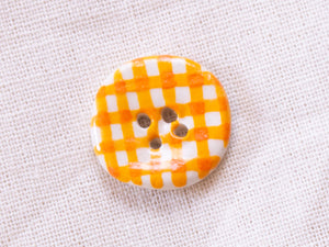 Small Button: Orange Gingham