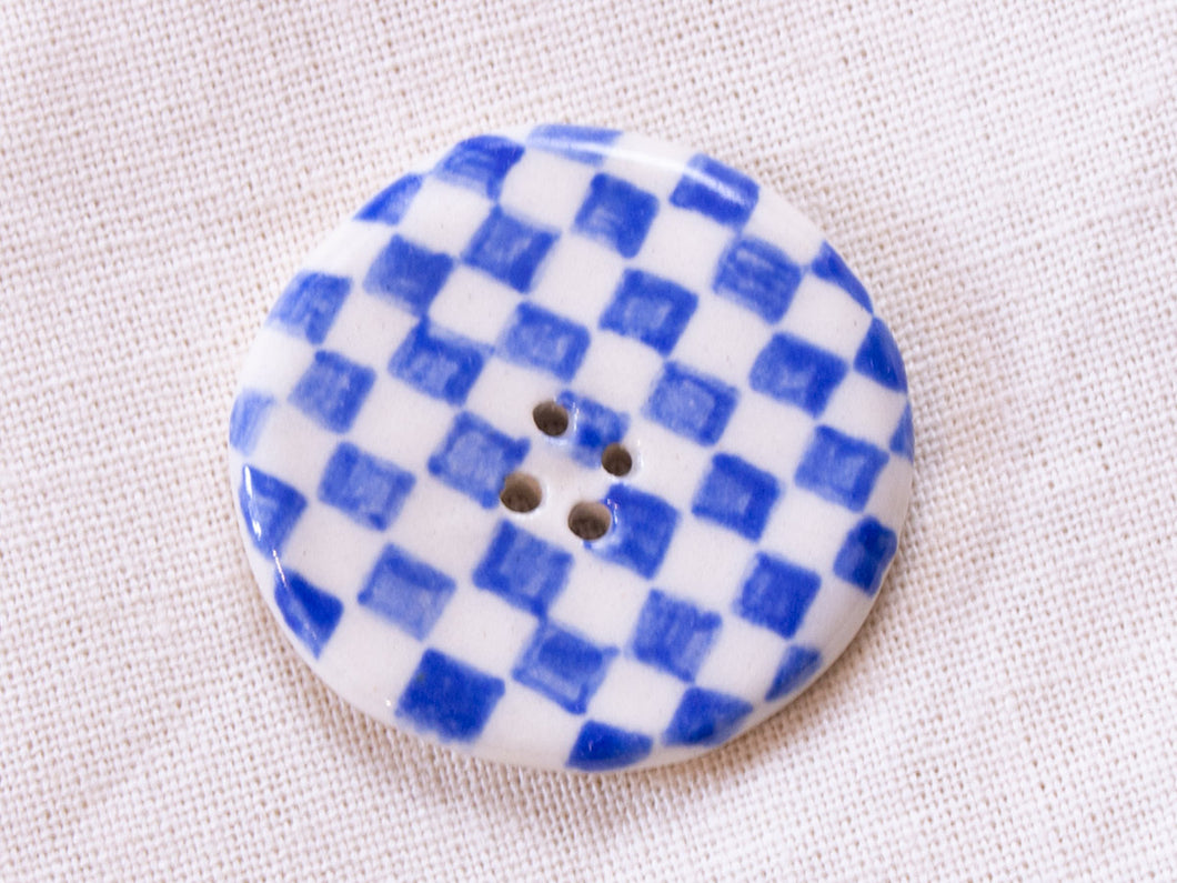 Large Button: Checkers Blue & White