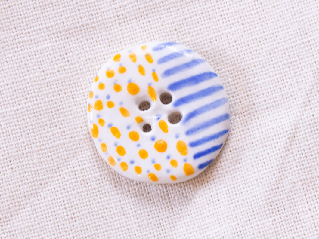 Medium Button: Orange Dots & Blue Stripes
