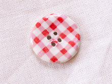 Load image into Gallery viewer, Medium Button: Red Gingham