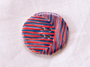 Large Button: Red & Teal Striped