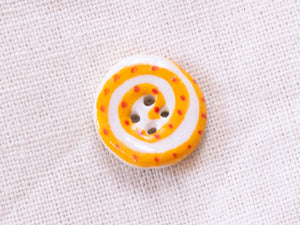 Tiny Button: Orange & White Spiral