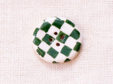Load image into Gallery viewer, Small Button: Checkers Dark Green & White