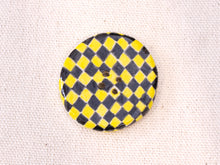 Load image into Gallery viewer, Large Button: Checkers Yellow & Black