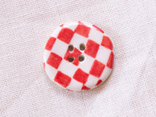 Load image into Gallery viewer, Medium Button: Checkers Red & White