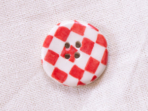 Medium Button: Checkers Red & White