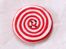 Load image into Gallery viewer, Extra Large Button: Red & White Spiral