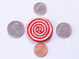 Extra Large Button: Red & White Spiral