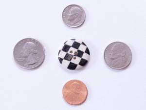 Medium Button: Checkers Black & White