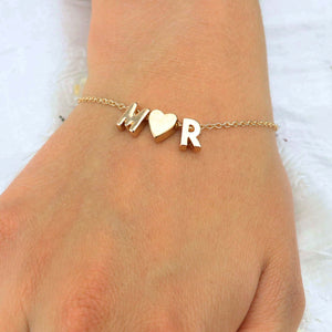 Fashion Tiny Dainty Heart Initial Personalized Bracelet