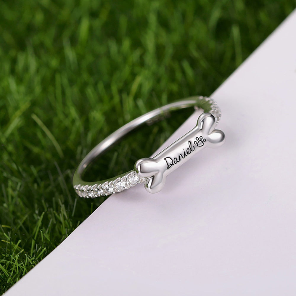 Cute Personalized Dog Bone Ring