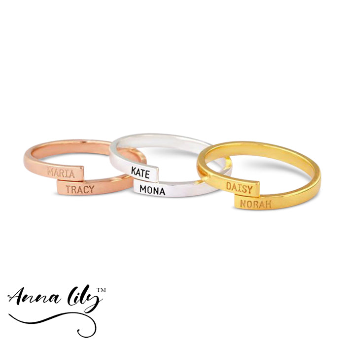 Elegant Custom Two Name Ring