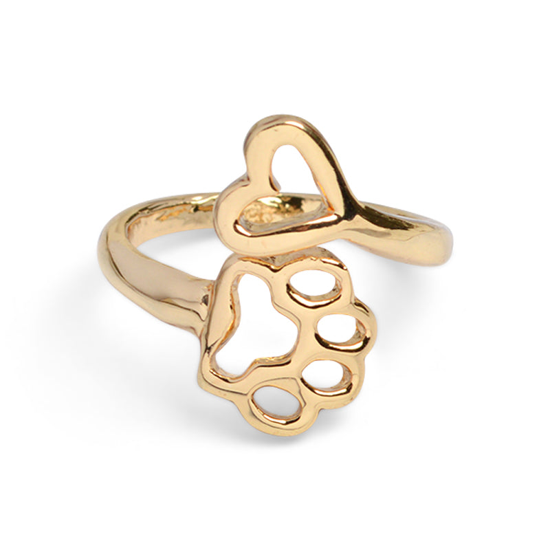 Dog Paw & Heart Charm Ring