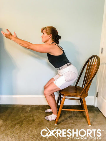 chair squat exercise side Coreshorts