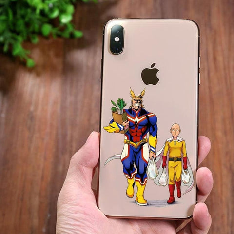 Coque Iphone MHA transparente All Might et Saitama