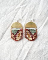 Galia Earrings, Sage + Bethari Wristlet Set