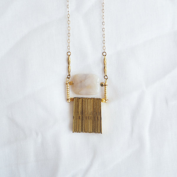 Agate and Brass Fringe Necklace