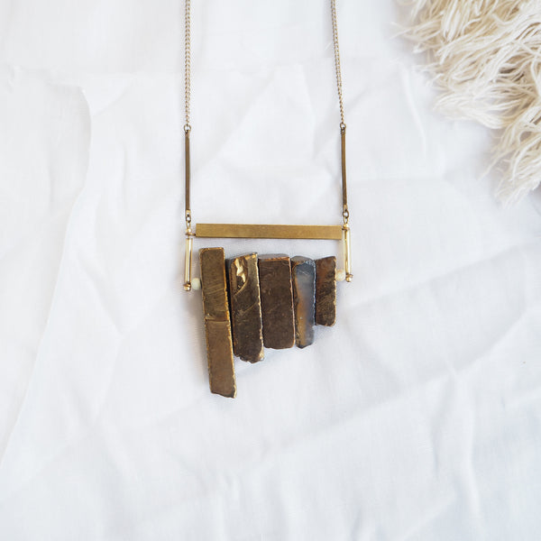 Gold Agate Fringe Necklace