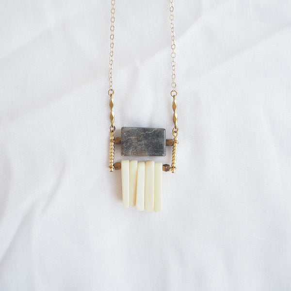 Jasper and Bone Fringe Necklace
