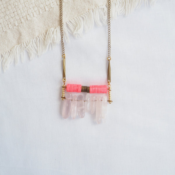 Fluorescent Pink Fringe Necklace