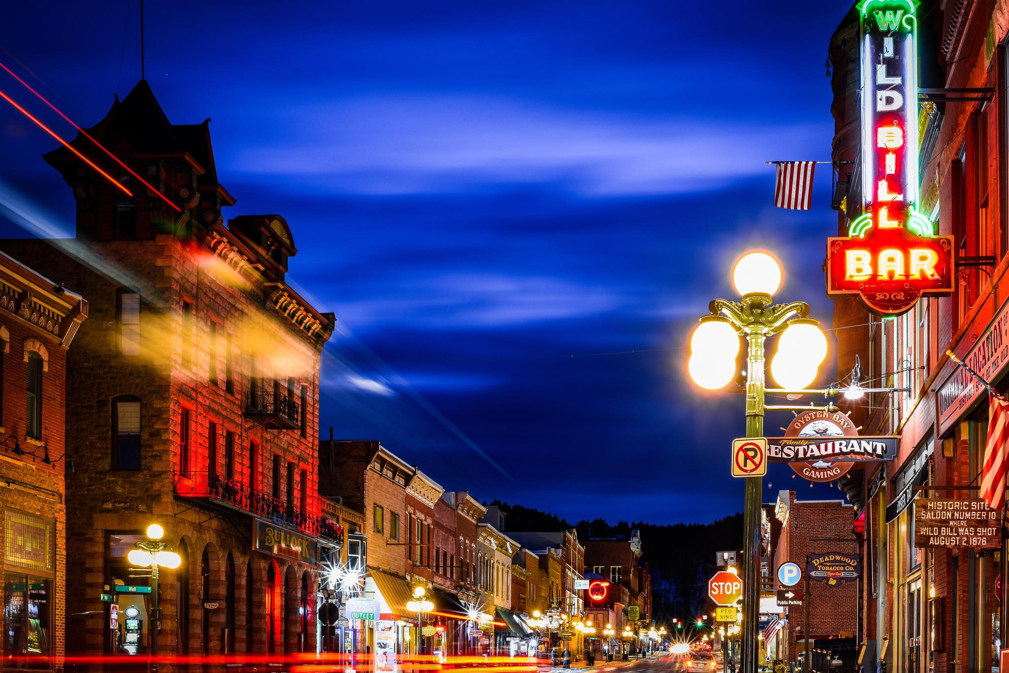 View of Main Street, Deadwood, SD at night.