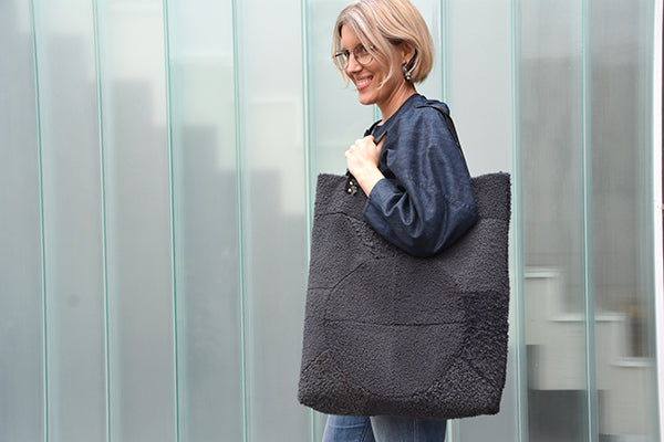 Genoa Tote sewing pattern, Shearling re-fashioned patchwork.