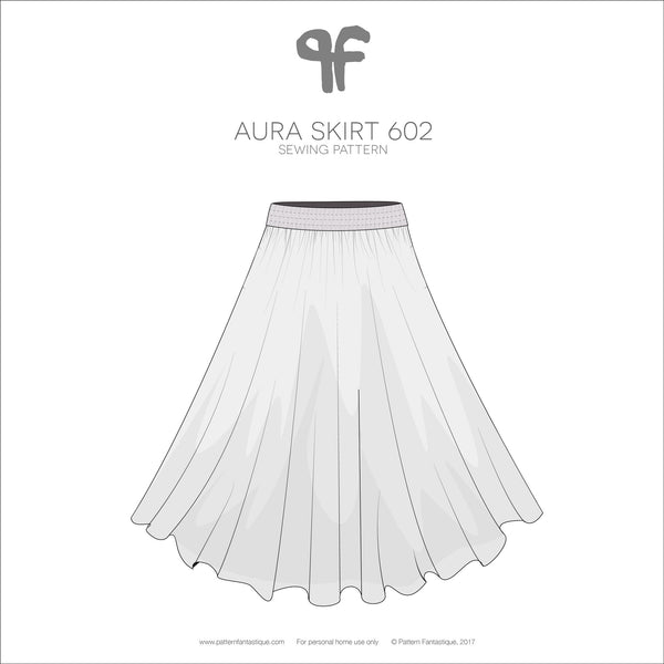 Aura Skirt PDF Sewing Pattern 602 - Technical Drawing