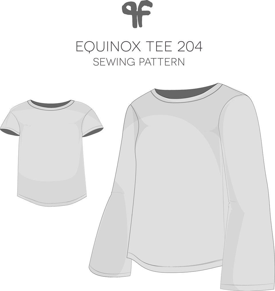 Equinox Tee Sewing Pattern -204 - Pattern Fantastique- Technical Drawings