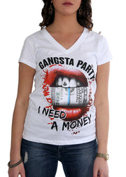 "Kvinna T-shirt ""Need Money"""