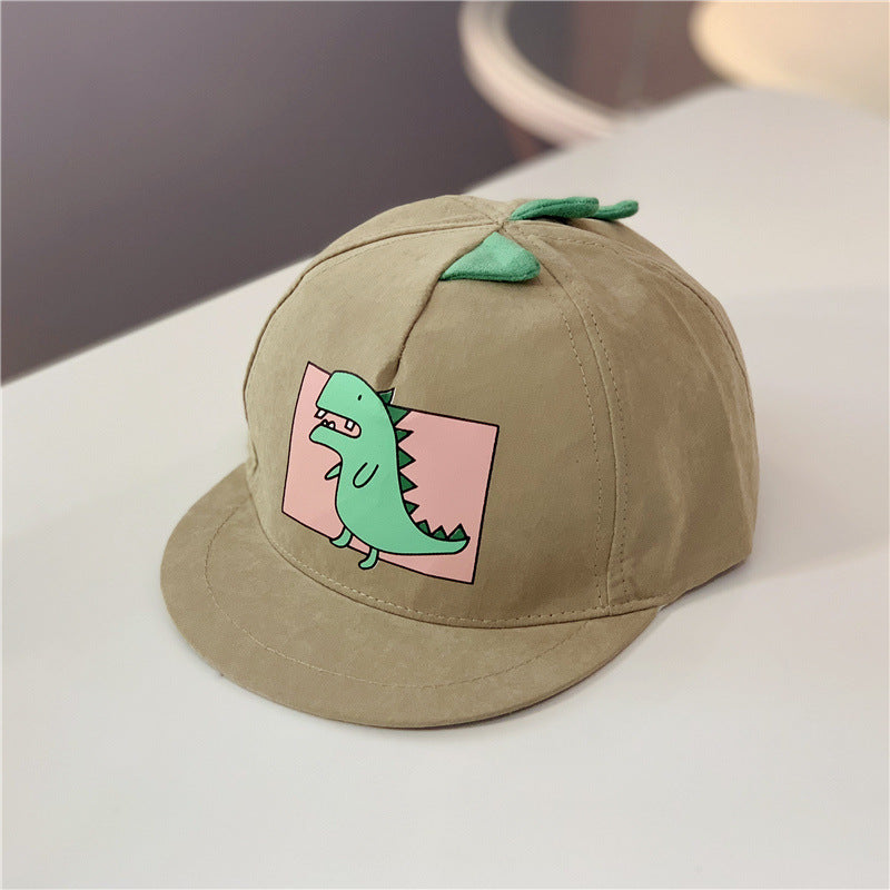 Kid's brown summer cap with green dinosaur print