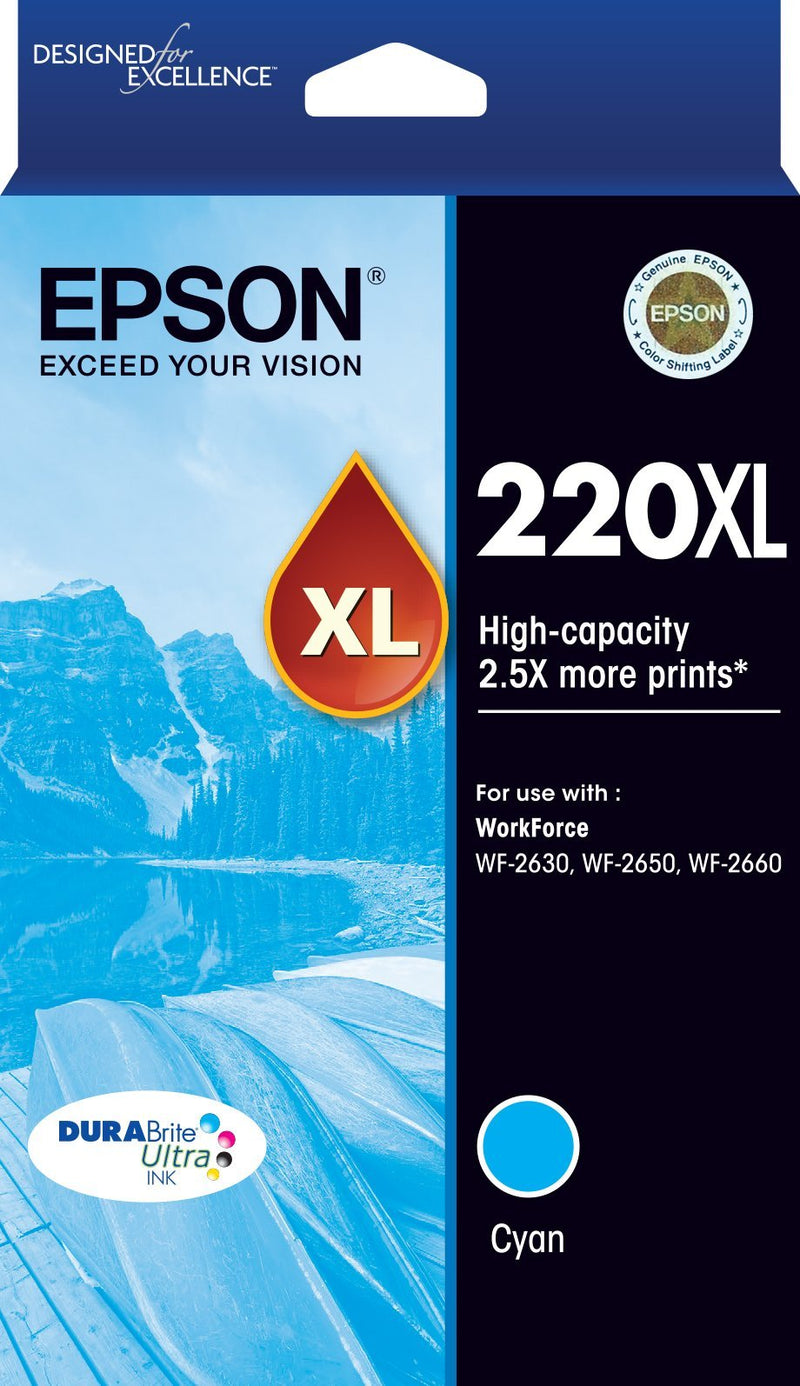220XL High Capacity DURABrite Ultra Cyan ink(Epson WorkForce WF-2630, WF-2650, WF-2660)