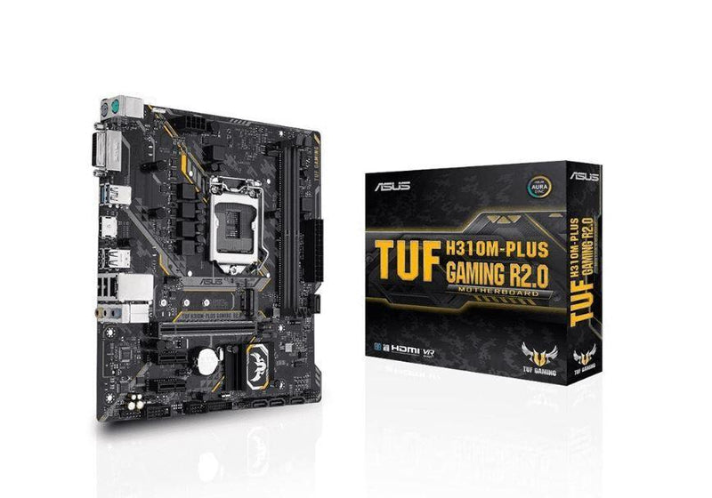 Intel H310 mATX gaming motherboard with Aura Sync RGB LED lighting, DDR4 2666MHz support, 20Gbps M.2